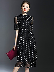 Women's Simple Polka Dot Plus Size / Swing Dress,Stand Midi Rayon