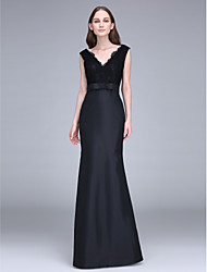 LAN TING BRIDE Floor-length Straps Bridesmaid Dress - Little Black Dress Sleeveless Lace Taffeta