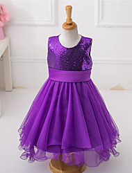 A-line Asymmetrical Flower Girl Dress - Satin Tulle Sequined Jewel with Bow(s) Sash / Ribbon