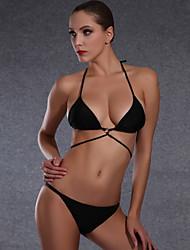 Tri't Forward Women's Halter Bikini,Solid Nylon Black
