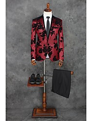 Suits Tailored Fit Peak Single Breasted One-button Polyester Patterns 2 Pieces Red Straight Piped