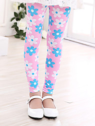 Girl's Casual/Daily Floral Leggings,Cotton Summer / Spring / Fall Green / Pink / White