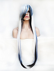Cosplay Wig Color 100 cm High Temperature  Wire Dark Blue And White Mixed Color Long Straight Hair Wig