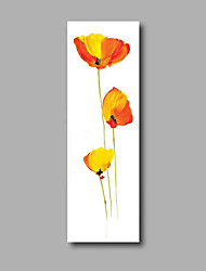 """Stretched (Ready to hang) Hand-Painted Oil Painting 48""""x16"""" Canvas Wall Art Modern Abstract Yellow Orange Flowers"""