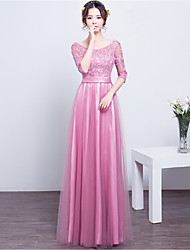 Floor-length Lace / Satin Bridesmaid Dress - Sheath / Column Scoop with Lace / Sash / Ribbon