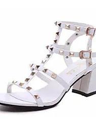 Damen Sandalen PU Sommer Normal Schnalle Blockabsatz Block Ferse Weiß Schwarz Silber 5 - 7 cm