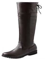 Boots Winter PU Casual Low Heel Lace-up Black Brown White