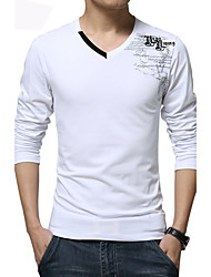 Men's Fashion Personalized V Collar Print Casual Slim Fit Long-Sleeve T-Shirt, Cotton /Print/Plus Size/Casual
