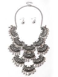 European Retro Tassel Earrings Necklace Set