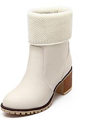 Черный / Бежевый-Женская обувь-Свадьба / Для праздника / На каждый день / Для вечеринки / ужина-Дерматин-На толстом каблуке-Модная обувь-
