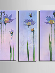 E-HOME® Stretched Canvas Art Light Blue Flower Decoration Painting  Set Of 3
