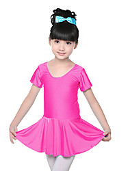 Ballet Dresses Children's Training Spandex Ruched 1 Piece Short Sleeve Natural Dress  Kid's Dance Costumes