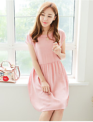 Round Neck Pleated Maternity Dress,Cotton Knee-length Short Sleeve