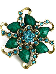 Fashion Retro Gold Alloy Resin Flower Shape Brooches for Women