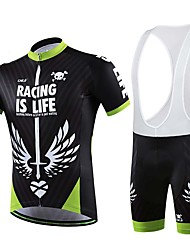 Sports Cycling Jersey with Bib Shorts Men's Short Sleeve Bike Breathable / Sweat-wicking Tops / Bottoms ElastaneSpring / Summer /