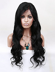 Fashion Young Girls Human Virgin Hair Natural Black Body Wave Front Lace Wig With Baby Hair