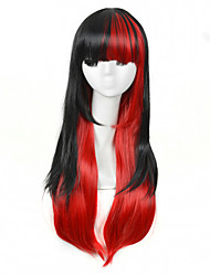 High Quality Natural Long Straight 1B/Red Ombre Color Synthetic Wig For White Women