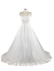 A-line Wedding Dress Court Train Strapless Tulle with Beading / Sash / Ribbon