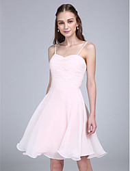 Knee-length Chiffon Bridesmaid Dress A-line Spaghetti Straps with Ruching