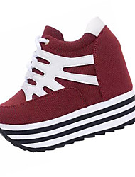 Для женщин Обувь на каблуках Дерматин Лето Повседневные Шнуровка На танкетке Черный Красный 9,5 - 12 см