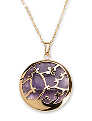 Fashion Purple Acrylic Inlay 316L Stainless Steel Cross Pattern Pendant Necklace