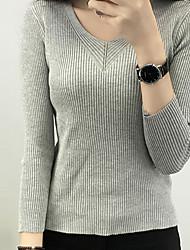 Damen Standard Pullover-Lässig/Alltäglich Einfach Solide Weiß / Schwarz / Braun / Grau Tiefes V Langarm Baumwolle Frühling Mittel