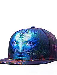 Hip Hop Women Men Street Dance Stripe Face Print Adjustable Patchwork 3D Baseball Cap