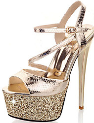 Women's Sandals Spring/Summer/Fall Glitter Party & Evening / Casual Stiletto Heel Sparkling Glitter Silver /Gold