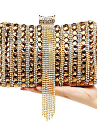 L.WEST Women's The Elegant Luxury Handmade Diamonds The Tassel Evening Bag