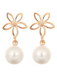 Newest 2016 Korea Jewelry Pearl Drop Earrings 18K Gold Plated Elegant Fashion Flower Earrings for Women Party