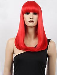 meio tempo bob alta qualidade peruca sintética sintética vermelha do cabelo em linha reta com estrondo completa