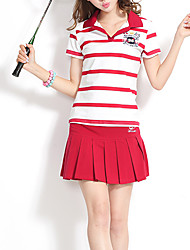 Women's Sports Active Spring / Summer Set,Striped Shirt Collar Short Sleeve Blue / Red Rayon Thin