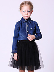 Girl's Casual/Daily Solid Blouse,Polyester Winter / Spring / Fall Blue