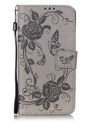 Pour Samsung Galaxy Coque Porte Carte Portefeuille Avec Support Clapet Coque Coque Intégrale Coque Fleur Flexible Cuir PU pour SamsungJ5