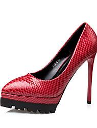 Women's Heels Summer Heels / Closed Toe Leatherette Dress Stiletto Heel Sparkling Glitter Black / Red / Gray Walking