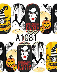 1pcs Nail Art Halloween Sticker Haunted House Skull Lady Girl Pumpkin DIY Nail Art Decoration A1081-1085