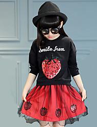 Girl's Round Collar Strawberry Print Clothing Set (Hoodie&Skirt)