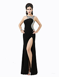 Formal Evening Dress Sheath / Column Scoop Floor-length Stretch Satin with Crystal Detailing / Split Front