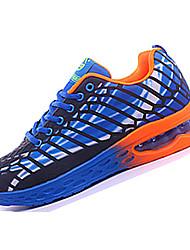 Feminino-TênisRasteiro-Vermelho Laranja Azul Real-Tule Couro Ecológico-Para Esporte