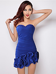 Women's Party / Club Sexy / Cute Bodycon / Sheath Dress,Strapless Above Knee Sleeveless Royal Blue Cotton / Polyester
