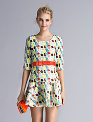 DREAMY LAND  Women's Going out Cute Dress,Floral Round Neck Mini ½ Length Sleeve White Cotton / Polyester Spring