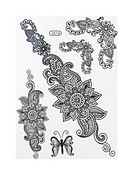 1pc Black Henna Tattoo Butterfly Flower Pattern Woman Body Art Temporary Tattoo Sticker BJ014