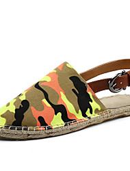 Women's Slippers & Flip-Flops Summer Slippers / Round Toe Linen Casual Flat Heel Others Blue / Dark Green