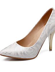 Women's Heels Spring Summer Fall Comfort PU Office & Career Party & Evening Casual Stiletto Heel Flower White Black Beige Walking