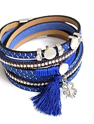 Bracelet Wrap Bracelet Leather Round Fashion Party / Daily Jewelry Gift Yellow / Red / Blue / Brown / Gray,1pc