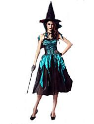 Fantasias de Cosplay Mago/Bruxa Cosplay de Filmes Verde Cor Única Vestido / Chapéu / Gravata Dia Das Bruxas / Natal / Ano Novo Feminino