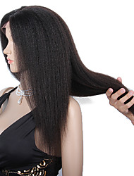 8-12 дюймов braizlian девственной Remy человеческих волос бесклеевой / фронта шнурка Kinky прямые парики для афро-американцев