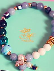 Strand Bracelets 1pc,Blue / Gray / Pink Bracelet Vintage Round 514 Ceramic Jewellery