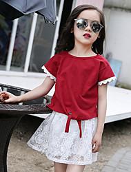 Vestido Chica de-Casual/Diario-Un Color-Algodón-Verano-Rojo