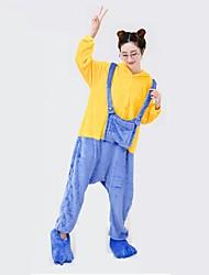 Kigurumi Pijamas Malha Collant/Pijama Macacão Festival/Celebração Pijamas Animal Amarelo Geométrica Poliéster Kigurumi Para UnisexoDia
